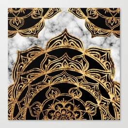 Gold Lace on Marble Canvas Print