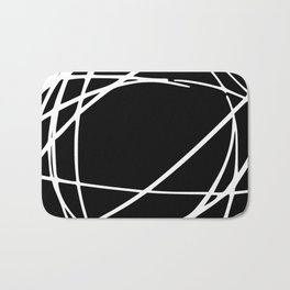 Black and White Circles and Swirls Modern Abstract Bath Mat