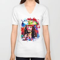 jack sparrow V-neck T-shirts featuring Captain Jack Sparrow by isabelsalvadorvisualarts