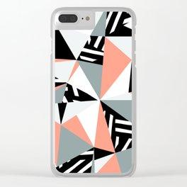 Modern Geometric 45 Pink Clear iPhone Case