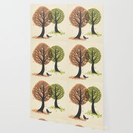 Autumn Is For The Birds Stamped Linocut Wallpaper