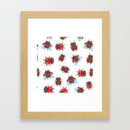 Funny insects ladybugs pattern on white background Framed Art Print