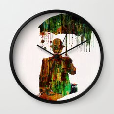 Rain in the abstract city Wall Clock