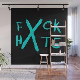 FXCK HXTE - Cyan Paint Wall Mural
