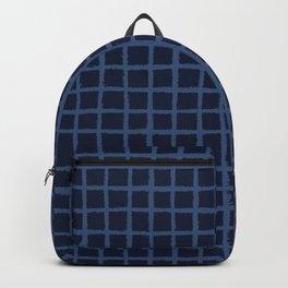 Hand Drawn Check Pattern Indigo Blue Grunge Backpack