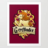 gryffindor Art Prints featuring Gryffindor Crest by AriesNamarie