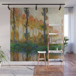 Autumn Trees in full fall foliage by the marshes landscape painting by Claude Monet Wall Mural
