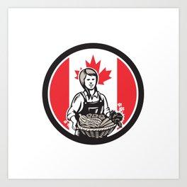 Canadian Female Organic Farmer Canada Flag Icon Art Print
