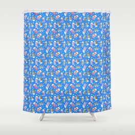 Christmas Coffee Cups in Ice Blue Shower Curtain