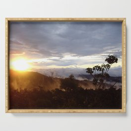 Sunset over the jungle in Costa RIca Serving Tray