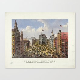 Broadway, New York by Currier & Ives (1875) Canvas Print