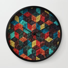 Colorful Isometric Cubes Wall Clock