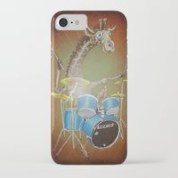 drums iPhone & iPod Cases featuring Giraffe Playing Drums by Bili Kribbs