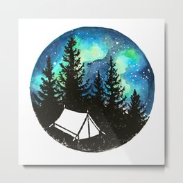 Tiny tent under northern lights Metal Print