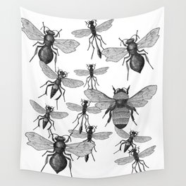 Bees and wasp Flying Wall Tapestry