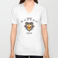 sheep V-neck T-shirts featuring SHEEP by toprock