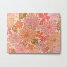 Retro Floral Sheets pink Metal Print