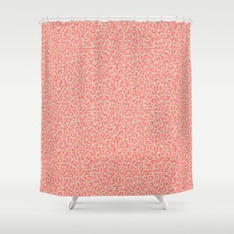 Leopard Print | Living Coral Pink with Tan Background | girly pastel | Cheetah Shower Curtain