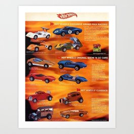 1969 Hot Wheels Redline Catalog Poster with experimental prototype colors Art Print