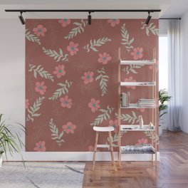 Botanical mint green gold terracotta leaves floral Wall Mural