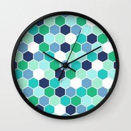 Galactic Hexagons 1 Wall Clock