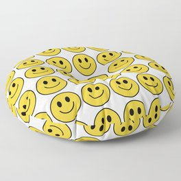 Smiley Face Pattern - White Background Variant Floor Pillow