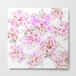 Giraffe Flower Print Metal Print