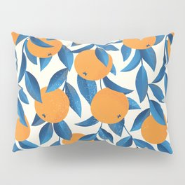 Vintage oranges on a branch with leaves hand drawn illustration pattern Pillow Sham