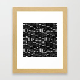 Black and White Stripes and Shapes Pattern Framed Art Print