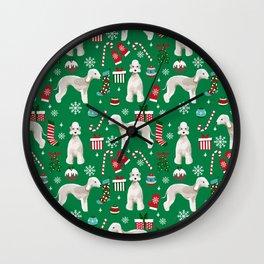 Bedlington Terrier christmas dog pattern gifts dog breed pet friendly design Wall Clock