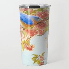 Indigo Bluebird on Pink Flowering Tree Branch Travel Mug