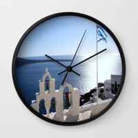 greece Wall Clocks featuring Greece by Shine Like Sunbeams