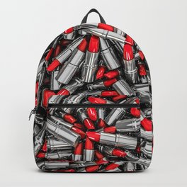Lipstick chrome / 3D render of red chrome lipsticks Backpack