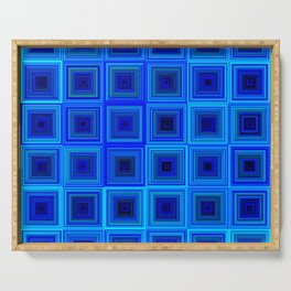 6x6 005 - abstract neon blue pattern Serving Tray