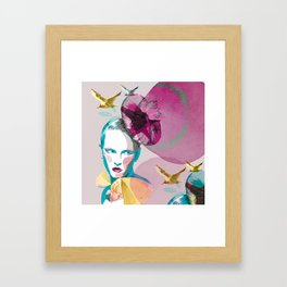Woman in blue - natural Framed Art Print