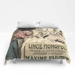 Vintage French linen advertising Comforters