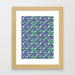 Blue Purple and Green Rough Abstract Dark Eye Framed Art Print