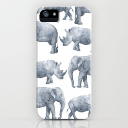 Rhino and elephant iPhone Case