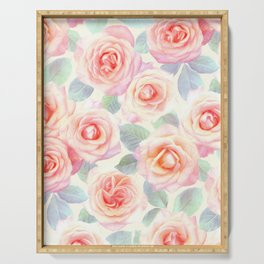Faded Vintage Painted Roses Serving Tray
