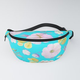Artist hand painted pink lavender teal watercolor floral Fanny Pack