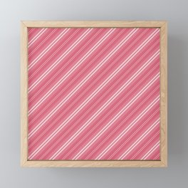 Soft Nantucket Red & White & White Diagonal Fade Stripes Framed Mini Art Print