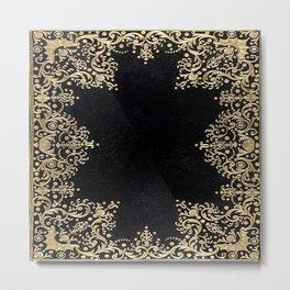 Black and Gold Filigree Metal Print