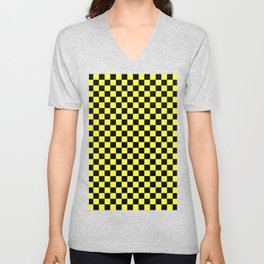 Black and Electric Yellow Checkerboard Unisex V-Neck