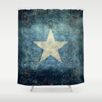islam Shower Curtains featuring Somalian national flag - Vintage version by Bruce Stanfield