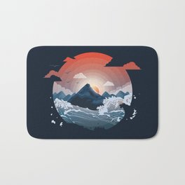Sunset over the mountain Bath Mat