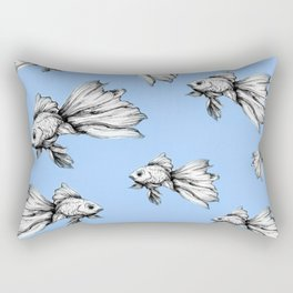 Inked Beta in Blue Rectangular Pillow