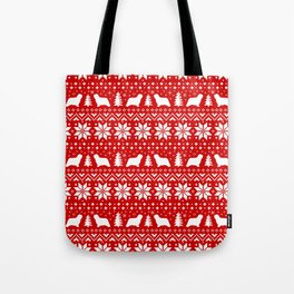 Komondor Silhouettes Christmas Sweater Pattern Tote Bag