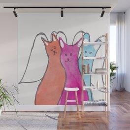 Three Angel Cats Wall Mural