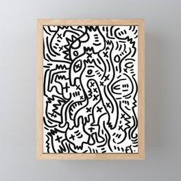 Graffiti Street Art Black and White Framed Mini Art Print