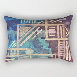 Aztec Gold Tribal Pattern Rectangular Pillow